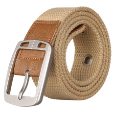 AOXINDA New Fashion Women & Men's Canvas Silver Pin Buckle Causual Belt 110cm - Khaki - Intl