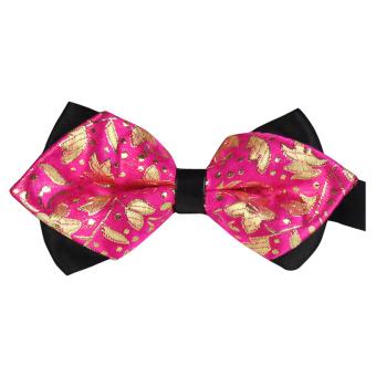 AOXINDA Tied Bow Ties Necktie Bowtie Tie Knot Mens Tuxedo Wedding Party Bowtie Paisley Jacquard Pre-Tied Bow Tie Rose Red - Intl