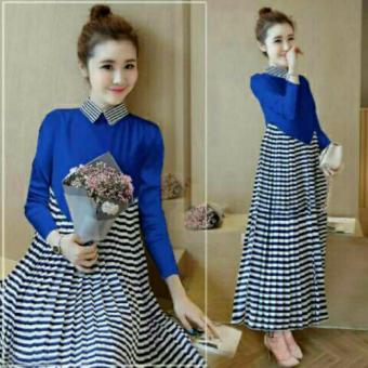 Aquinn Labelle - Long Dress Michel Strip Blue