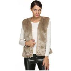 Astar ACEVOG Women Fashion Sleeveless Casual Faux Fur Vest Warm Coat Outwear (Khaki) (Intl)