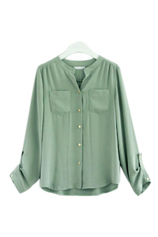 ASTAR Button Pocket Women Casual T Shirt Chiffon Blouses (Green)