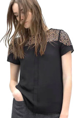 ASTAR Causal O Neck Lace T-Shirt (Black) ϼ