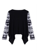 Astar Fashion Ladies Women Casual Geometric Print Long Sleeve Front Open Asymmetric Hem Tops Cardigan Coat (Black) ϼ