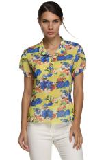 ASTAR Finejo Women Casual Stand Collar Short Petal Sleeve Floral Chiffon Blouse (Yellow)