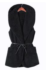 Astar Korea Women's Girls Fashion Elegant Warmer Casual Bushy Hoodie Long Vest Coat (Black)