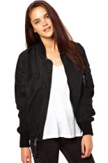 Astar Ladies Sport Casual Classic Zip Up Biker Jacket Baseball Jacket (Black) - Intl