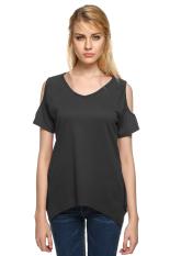 Astar Women Casual Off Shoulder Short Sleeve T-shirt (Dark Grey)