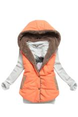 Astar Women Plus Size Slim Jacket Hoodie Vest Coat Waistcoat (Orange) - Intl