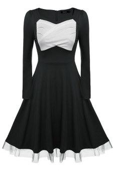 Astar Zeagoo Women Casual Irregular neck Long Sleeve Retro Capshoulder Party Swing Dress (Black) - intl