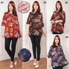 Atasan blouse kemeja wanita jumbo shirt Agnesya - 03 coklat tua