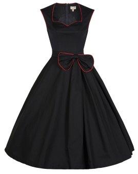 Audrey Hepburn Lady Retro Bow Waist Pure Skirt Style Maxi Dresses (Color:Black)