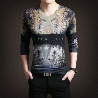 Autumn New Fashion Long Sleeve V-neck Knit Printed T-shirt(Grey)