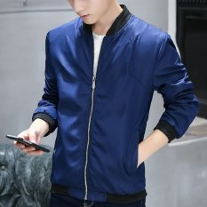 Autumn New Men 's Long - Sleeved Zipper Solid Color Jacket (Blue) - Intl