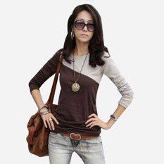 Autumn Patchwork Long-sleeve T-shirt Basic Shirt Plus Size Slim Round Neck T-shirt (Intl)