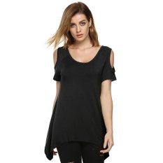 Azone ACEVOG Fashion Women Lady Sexy Casual O-Neck Short Sleeve Off Shoulder Loose Solid Irregular T-Shirt (Black)