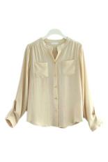 Azone Button Pocket Women Casual T Shirt Chiffon Blouses (Apricot)