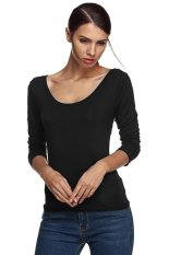 Azone Finejo Ladies Women Charming Long Sleeve Lace Up Back Shirt Top Blouse (Black)