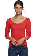 Azone Finejo Ladies Women Charming Long Sleeve Lace Up Back Shirt Top Blouse (Red)