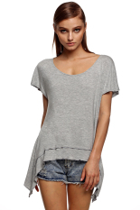 Azone Finejo Women Loose Round Neck Batwing Sleeve Backless Irregular Stretch Solid T Shirt Tops (Grey)