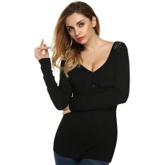 Azone Finejo Women V Neck Long Sleeveless Lace Patchwork Solid Stretch T Shirt Tops (Black)