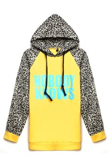 Azone Lady Women Long Sleeve Leopard Print Hooded Casual Pullover Hoodie (Yellow)