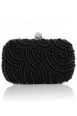 Azone Lady's Clutch Bag Pearl Beaded Party Bridal Handbag Wedding Evening Purse (Black)