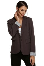 Azone Meaneor Stylish Ladies Women Casual Formal Office Solid Suit One Button Blazer Roll-up Stripe Cuffs Tailoring Coat