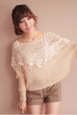 AZONE Mesh Hollow Crochet Lace Knit Shawl Cape - Intl