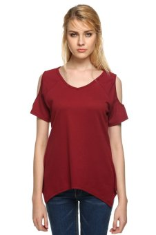 Azone Women Casual Off Shoulder Short Sleeve T-shirt (Red)