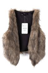 AZONE Women Faux Fur Vest Gilet Waistcoat (Brown) (Intl)