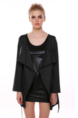 Azone Women Ladies Design Belted Long Sleeve Coat Jacket (Black)