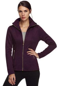 Azone Women Long Sleeve Turn Down Collar Zipper Athletic Jacket (Purple) - Intl