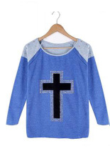 Azone Women's Casual T-shirts Long Sleeve Pullovers Jumpers T-shirt Tops Blouse (Blue)