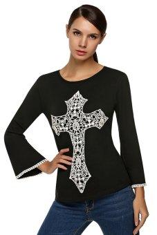 Azone Zeagoo Ladies Women Long Sleeve O-neck Floral Top Blouse ( Black )