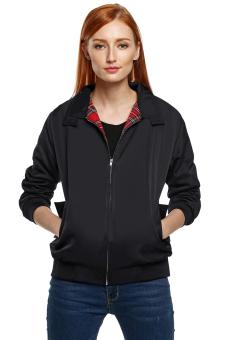 Azone Zeagoo UniFashion Turndown Collar Long Sleeve Jacket Outwear Coat(Black)