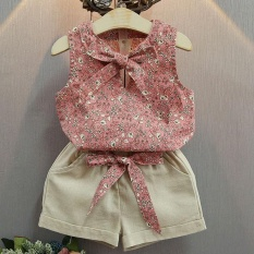 Baby Girls Summer Clothes Suits Floral Print Sleeveless T-shirt + Short Pants Clothing Set - intl