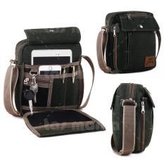 Baepack Classic Canvas Multifunction Messenger Shoulder Bag - Dark Green