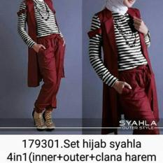 Baju Muslim Setelan Wanita Motif Garis With Maroon