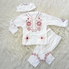 Baju Muslim/Koko/Aqiqah Anak Bayi Laki-Laki Putih Bordir Kancing 2