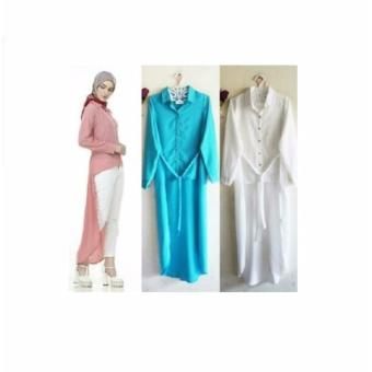 Baju Original Lavonia Tunik Wolfice Tunik Baju Atasan Panjang Wanita Muslimah Pakaian Hijab Modern Casual Simple Trendy Warna Putih