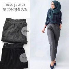 Baju Original Max Round Supernova Celana Wanita Muslimah Joger Cewek Panjang Casual Simple Black