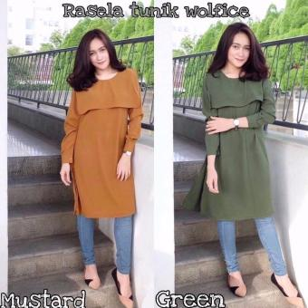 Baju Original Rasela Tunik Wolfice Baju Atasan Panjang Wanita Muslimah Pakaian Hijab Modern Casual Simple Trendy Warna Mustard