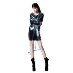 Bang Women Eva Hooded Transparent Rain Coat (Long-Blue)