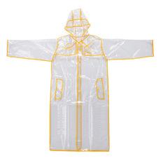 Bang Women Eva Hooded Transparent Rain Coat (Long-Yellow)