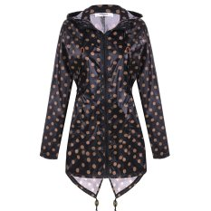 Bang Women Girls Dot Raincoat Fishtail Hooded Print Jacketrain Coat (Black)