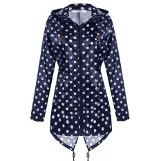 Bang Women Girls Dot Raincoat Fishtail Hooded Print Jacketrain Coat (Navy Blue)
