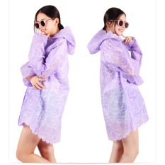 Bang Womens Fashion Transparent Rain Coat Hooded Hiking Outdoor Raincoat (Purple)