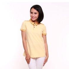 Batik Aksen Kaos Batik Perempuan Kerah Krem