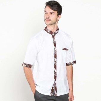 Batik Distro K7894 Kemeja Pria Motif Jahit Jarik - Putih