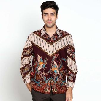 Batik Distro K8011 Kemeja Pria Parang Bahu Panjang - Coklat